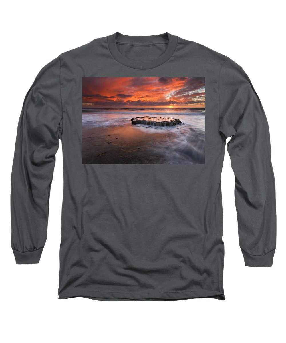 Island Long Sleeve T-Shirt featuring the photograph Island In The Storm by Mike Dawson