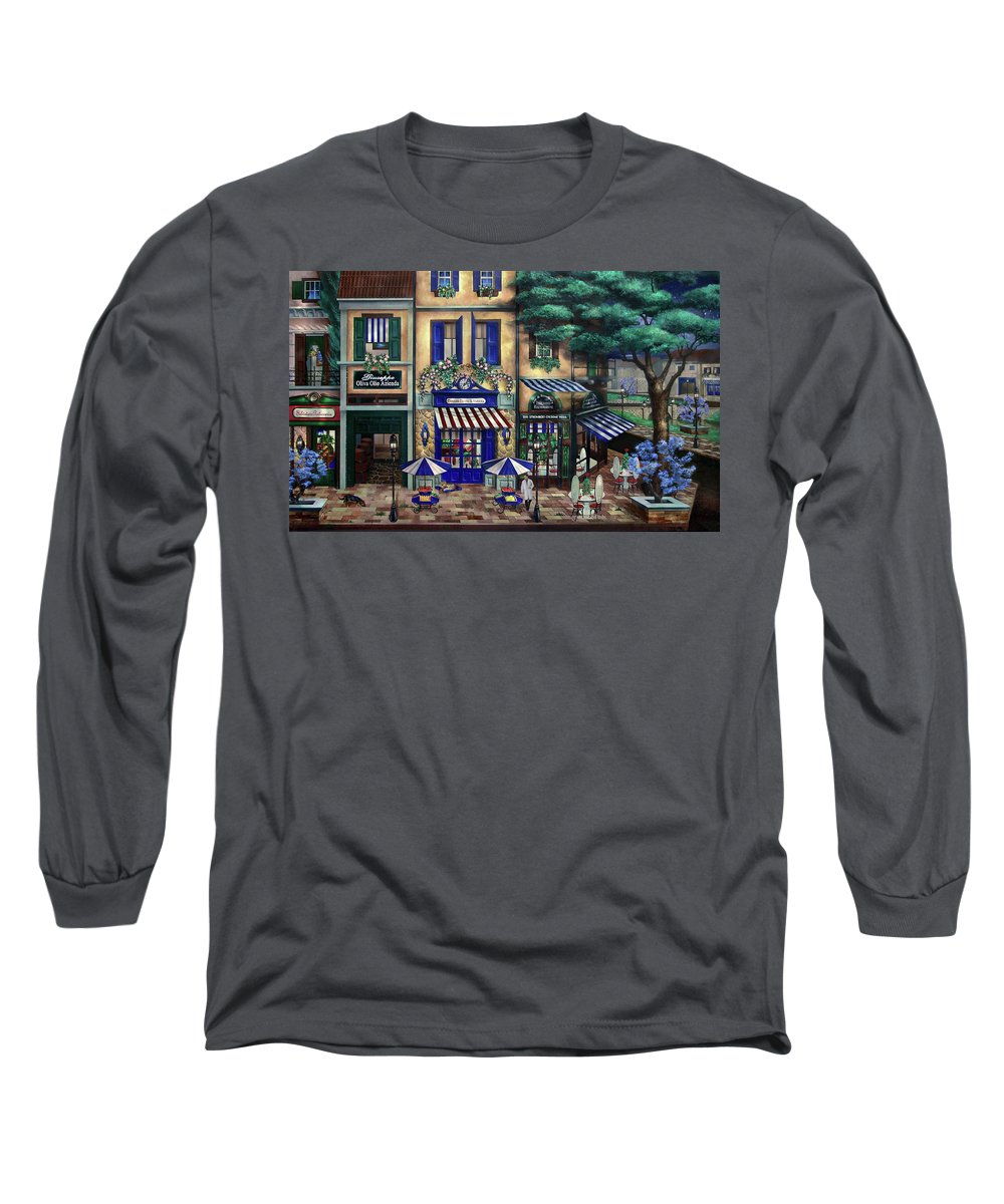 Italian Long Sleeve T-Shirt featuring the mixed media Italian Cafe by Curtiss Shaffer