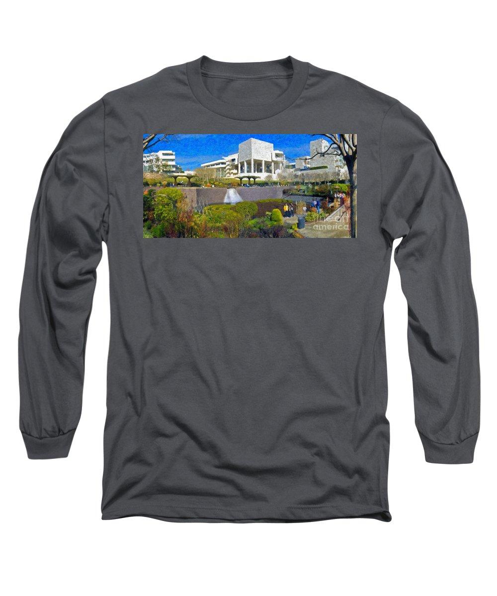 J Paul Getty Long Sleeve T-Shirt featuring the photograph J. Paul Getty Museum Central Garden Panorama by David Zanzinger