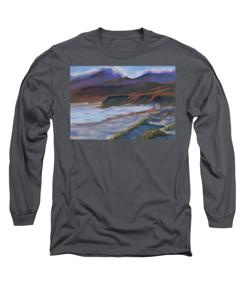 Jalama Beach. Long Sleeve T-Shirt featuring the pastel Jalama Beach At Sunset by Laurie Paci