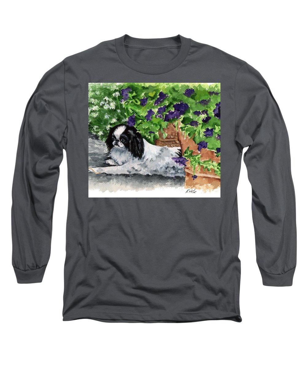 Japanese Chin Long Sleeve T-Shirt featuring the painting Japanese Chin Puppy And Petunias by Kathleen Sepulveda