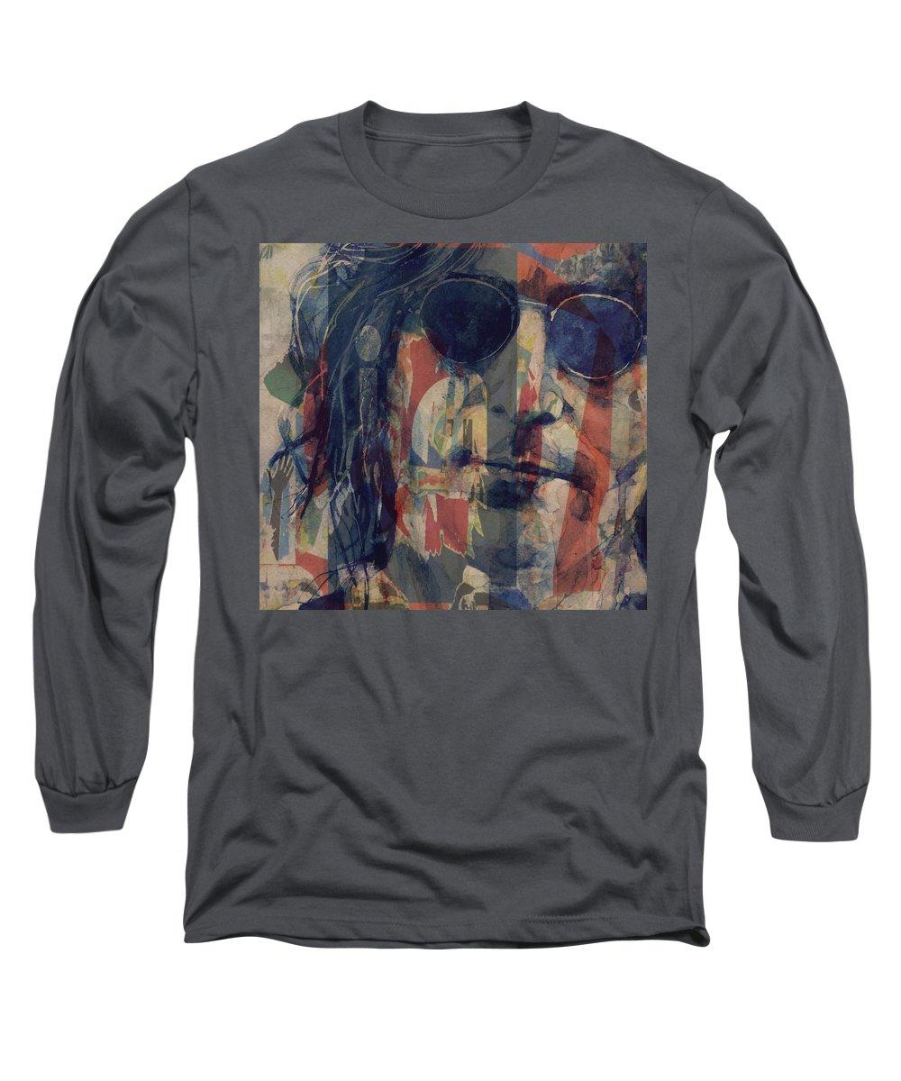 John Lennon Long Sleeve T-Shirt featuring the mixed media John Lennon - Mind Games by Paul Lovering