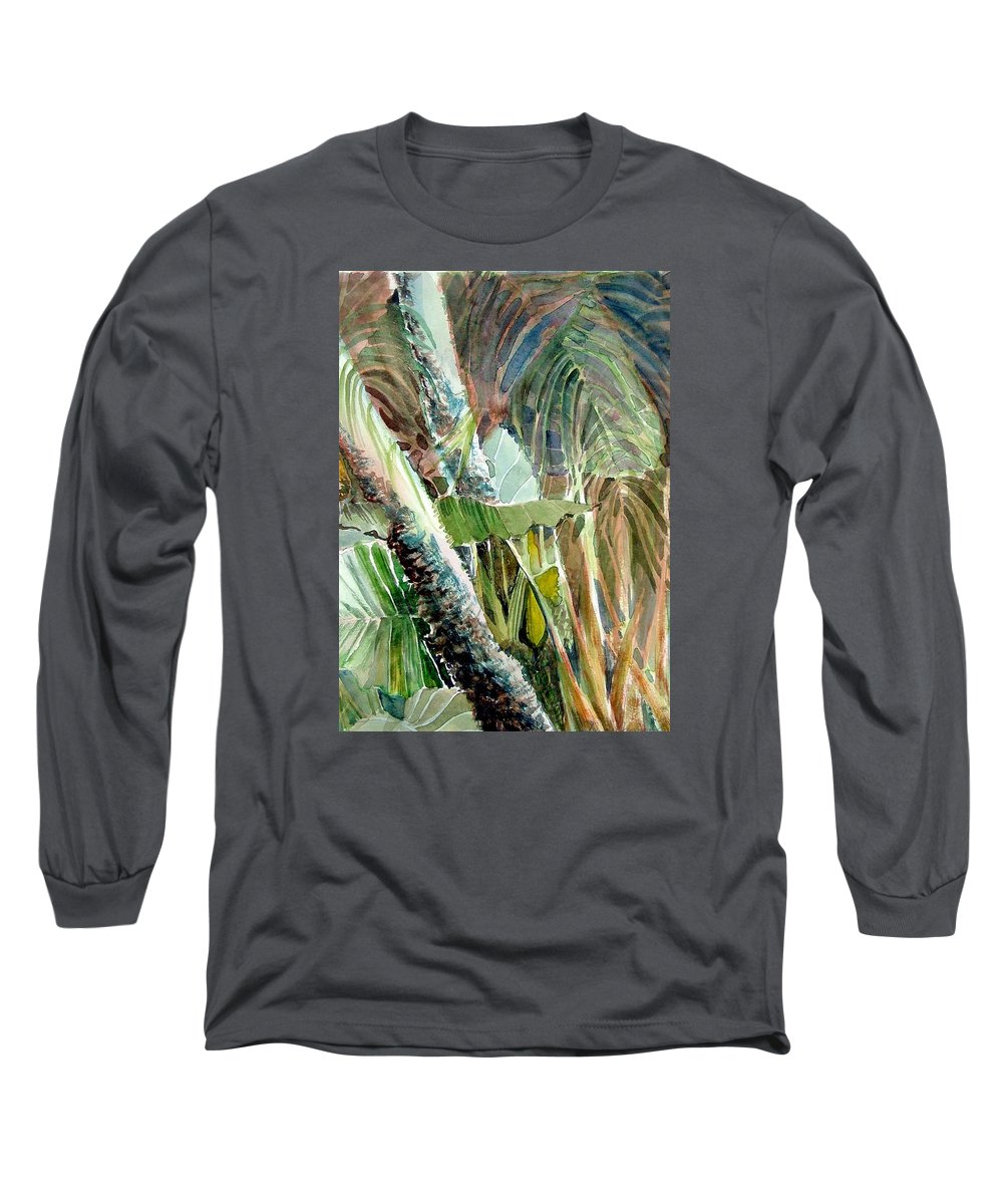 Palm Tree Long Sleeve T-Shirt featuring the painting Jungle Light by Mindy Newman