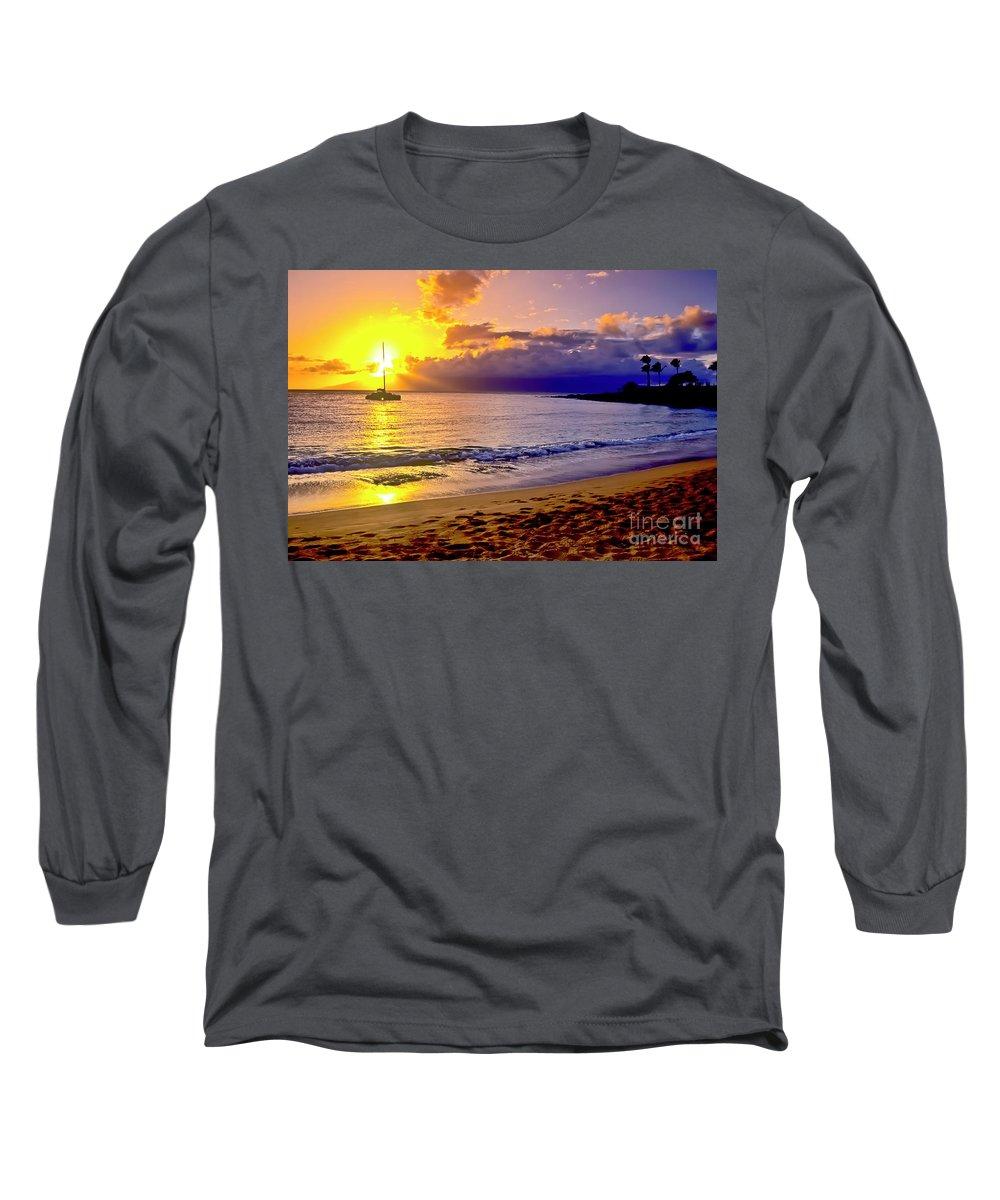 Scenics Long Sleeve T-Shirt featuring the photograph Kapalua Bay Sunset by Jim Cazel