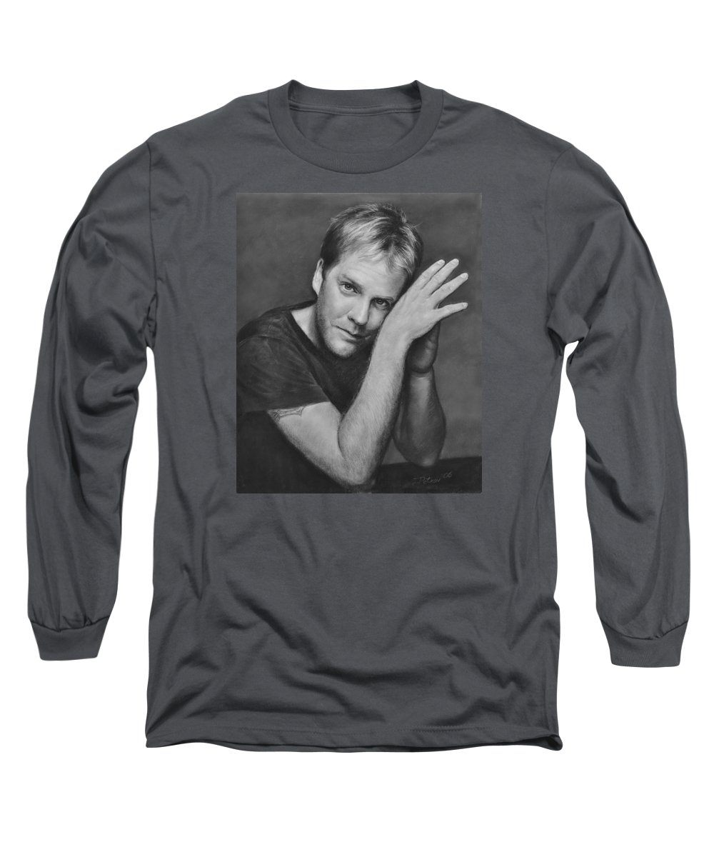 Portraits Long Sleeve T-Shirt featuring the drawing Kiefer Sutherland by Iliyan Bozhanov
