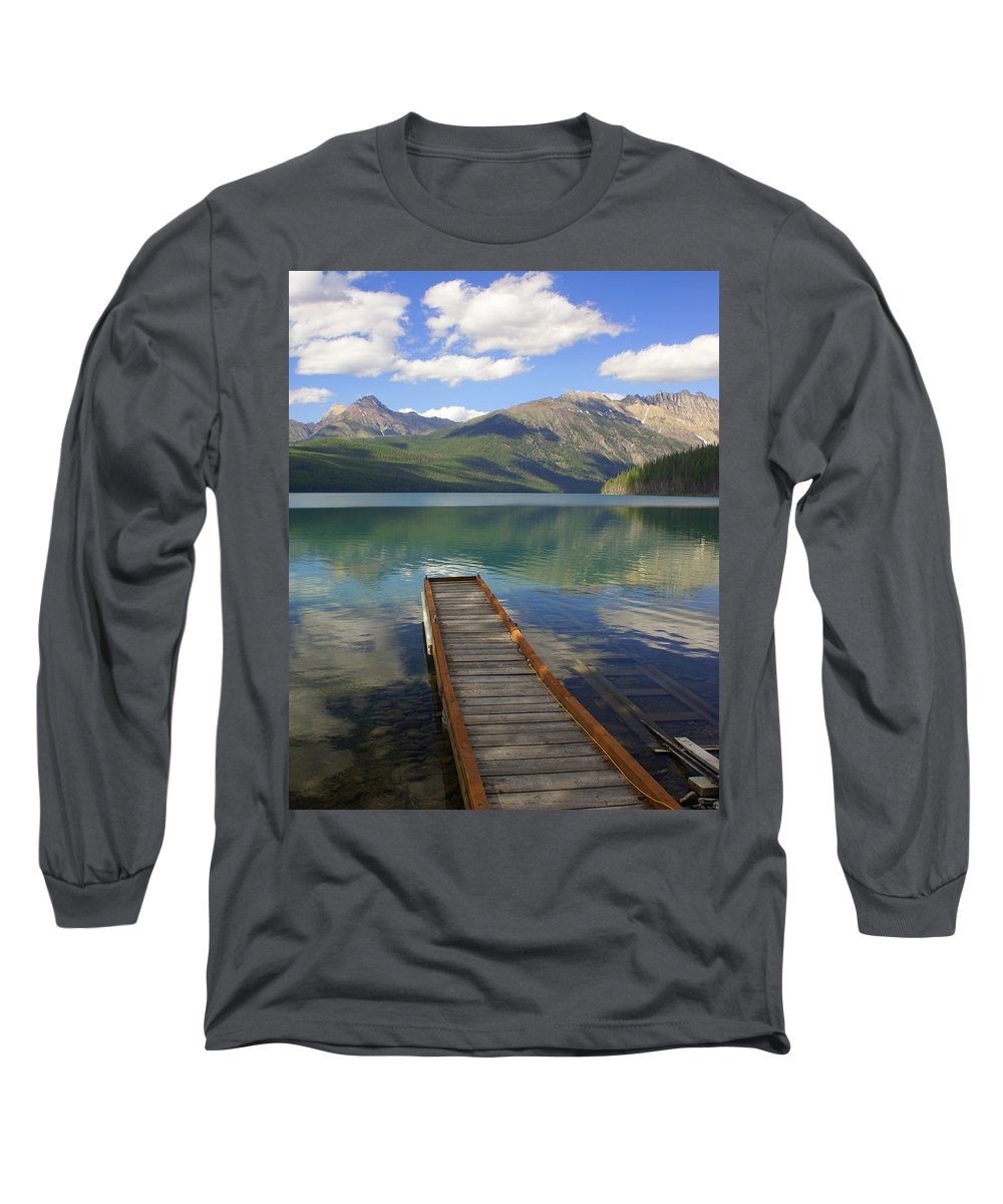 Glacier National Park Long Sleeve T-Shirt featuring the photograph Kintla Lake Dock by Marty Koch