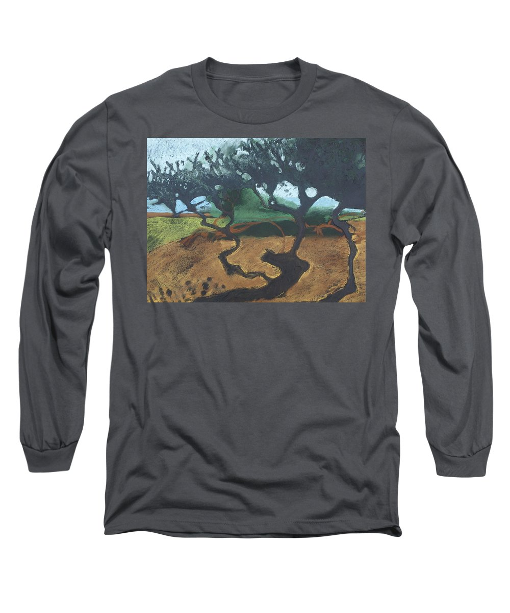 Contemporary Tree Landscape Long Sleeve T-Shirt featuring the drawing La Jolla I by Leah Tomaino