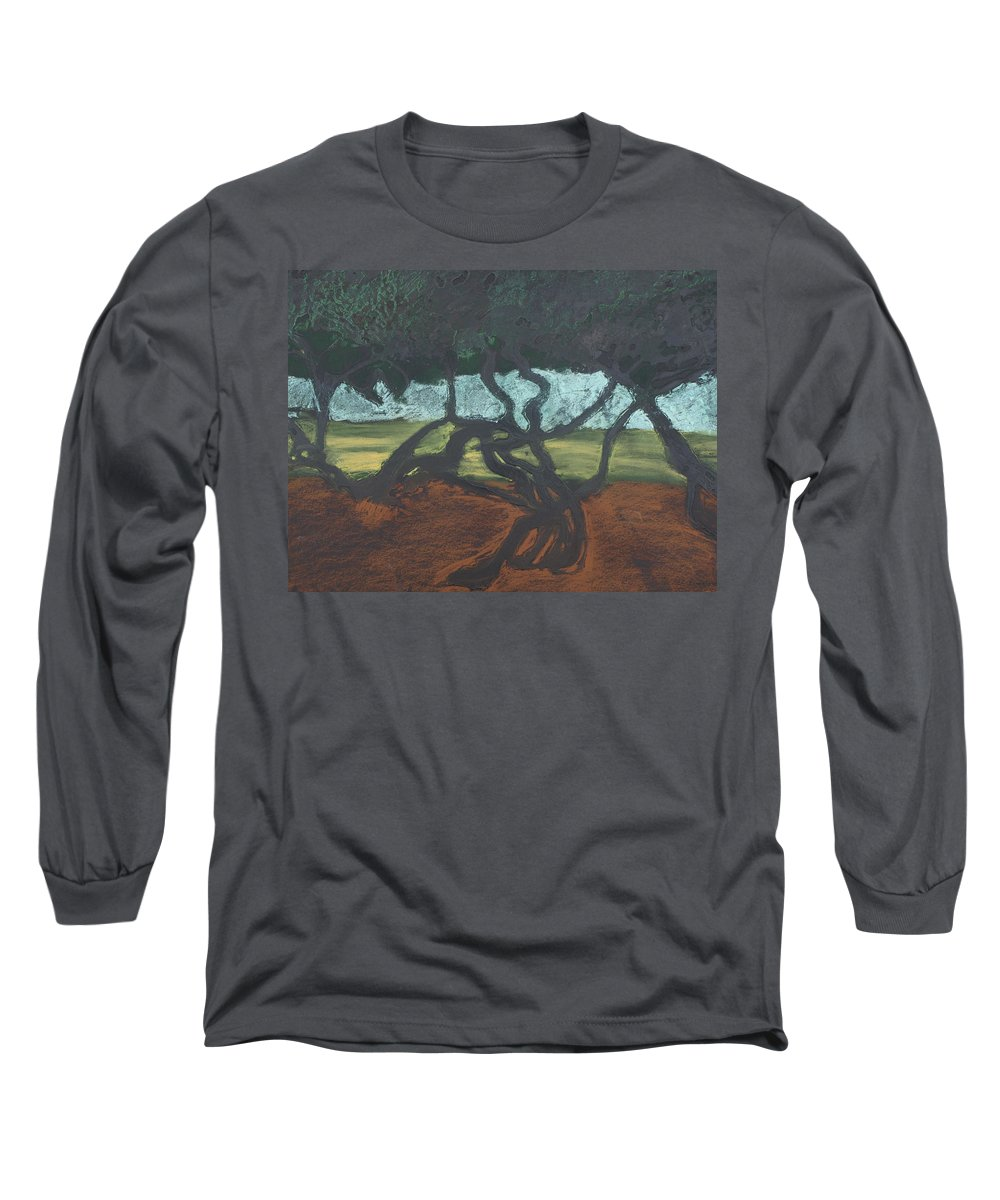 Contemporary Tree Landscape Long Sleeve T-Shirt featuring the mixed media La Jolla II by Leah Tomaino