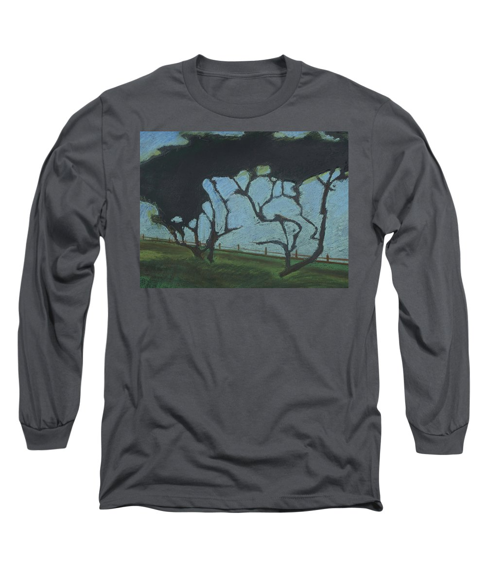 Contemporary Tree Landscape Long Sleeve T-Shirt featuring the mixed media La Jolla IIi by Leah Tomaino