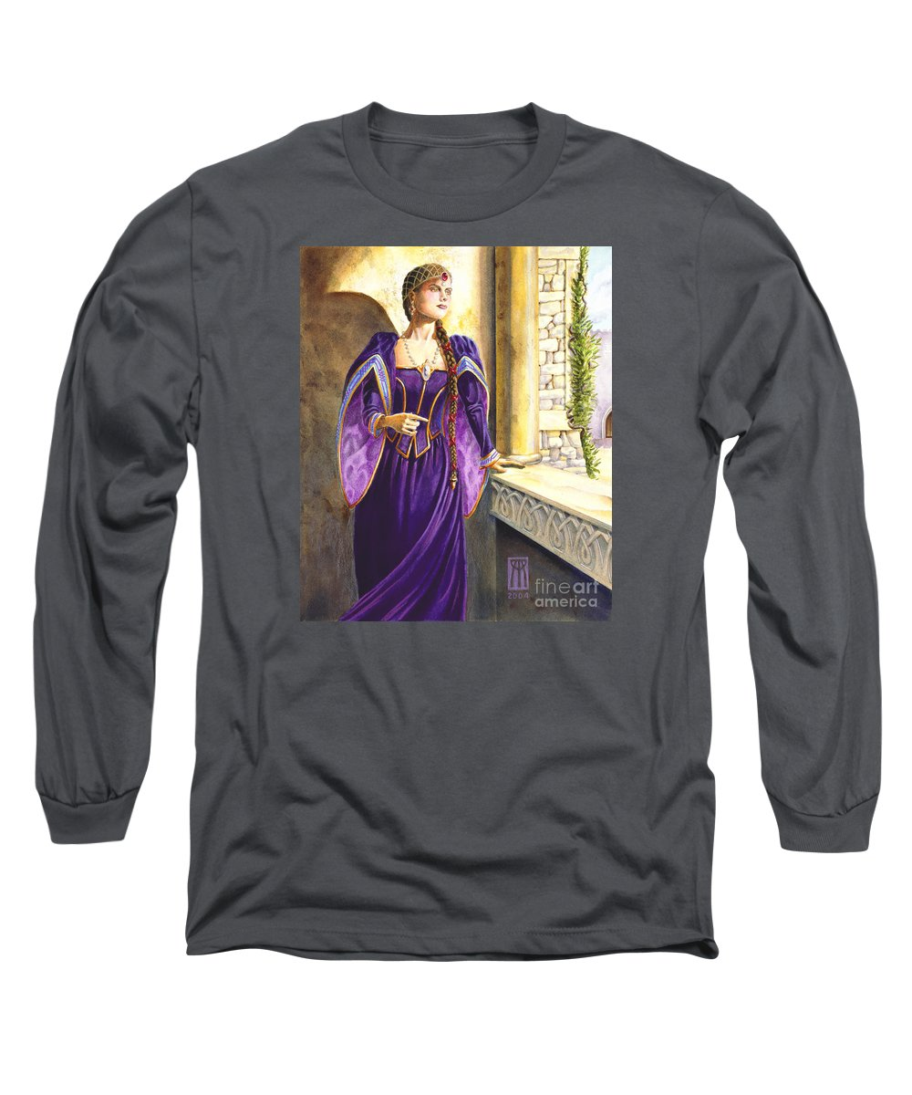 Camelot Long Sleeve T-Shirt featuring the painting Lady Ettard by Melissa A Benson