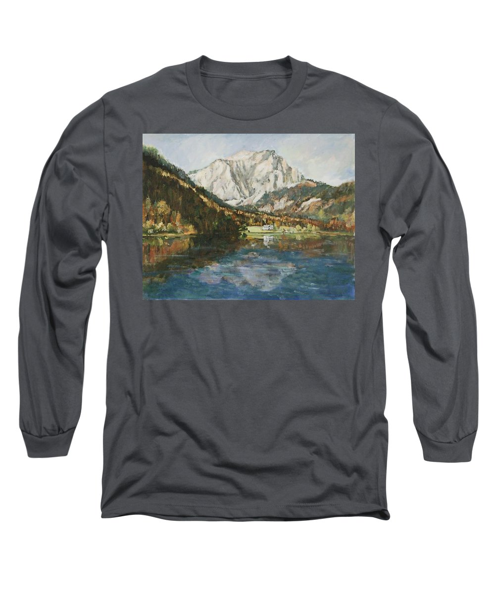 Landscape Long Sleeve T-Shirt featuring the painting Langbathsee Austria by Alexandra Maria Ethlyn Cheshire