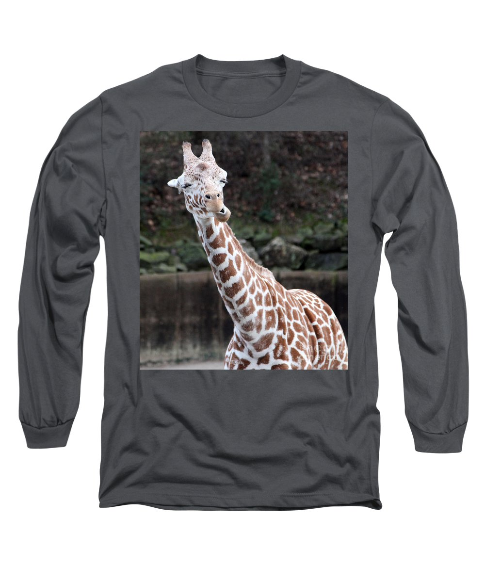 Laughing Giraffe Long Sleeve T-Shirt featuring the photograph Laughter by Amanda Barcon