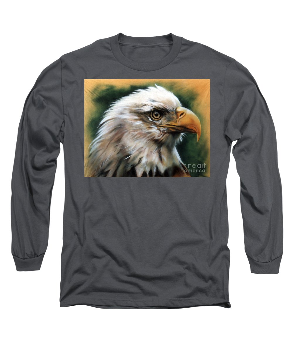 Southwest Art Long Sleeve T-Shirt featuring the painting Leather Eagle by J W Baker