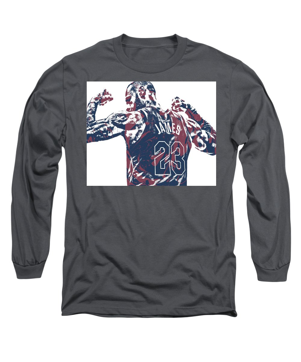 3d33e1bc Lebron James Long Sleeve T-Shirt featuring the mixed media Lebron James  Cleveland Cavaliers Pixel
