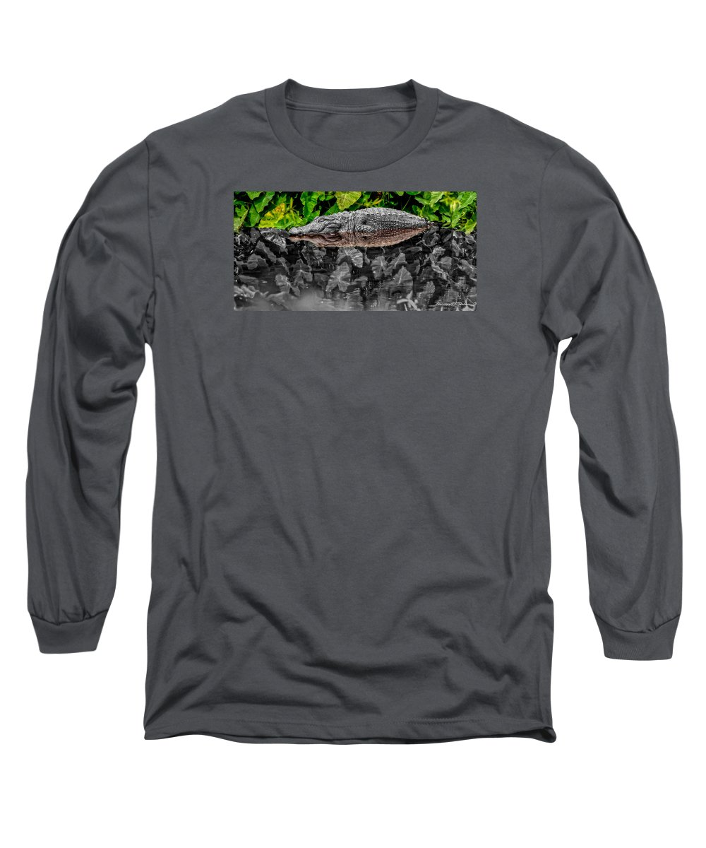 American Long Sleeve T-Shirt featuring the photograph Let Sleeping Gators Lie - Mod by Christopher Holmes