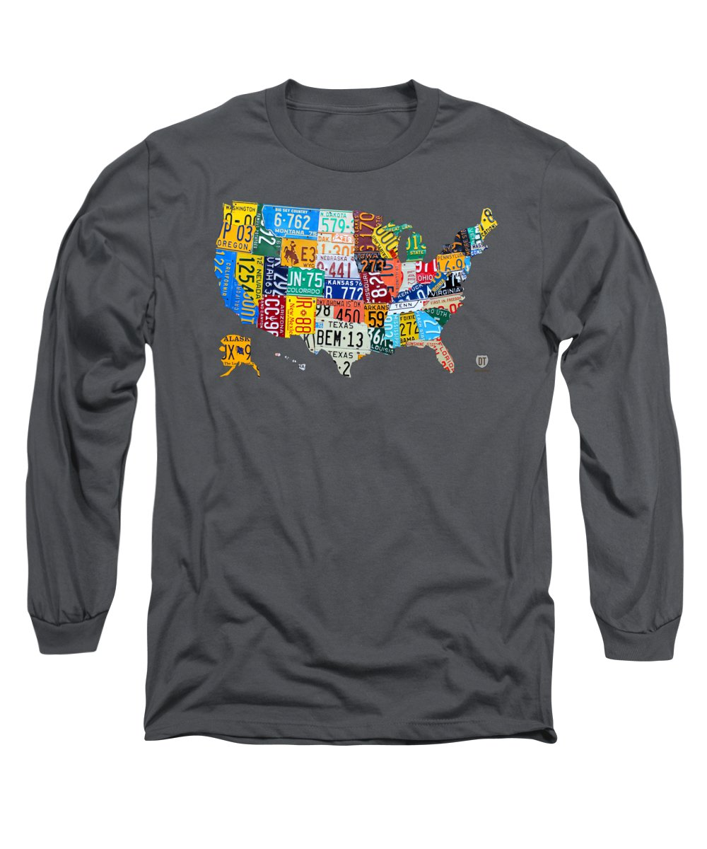 License Plate Map Of The United States Long Sleeve T-Shirt on using map of missouri license plates, united states map printable pdf, united states license plate game, 50 states license plates, united states map with scale, us map made of license plates, united states license plate designs, united states map art, united states licence plates, united states license plates 2014, united states map printout, furniture made from license plates,