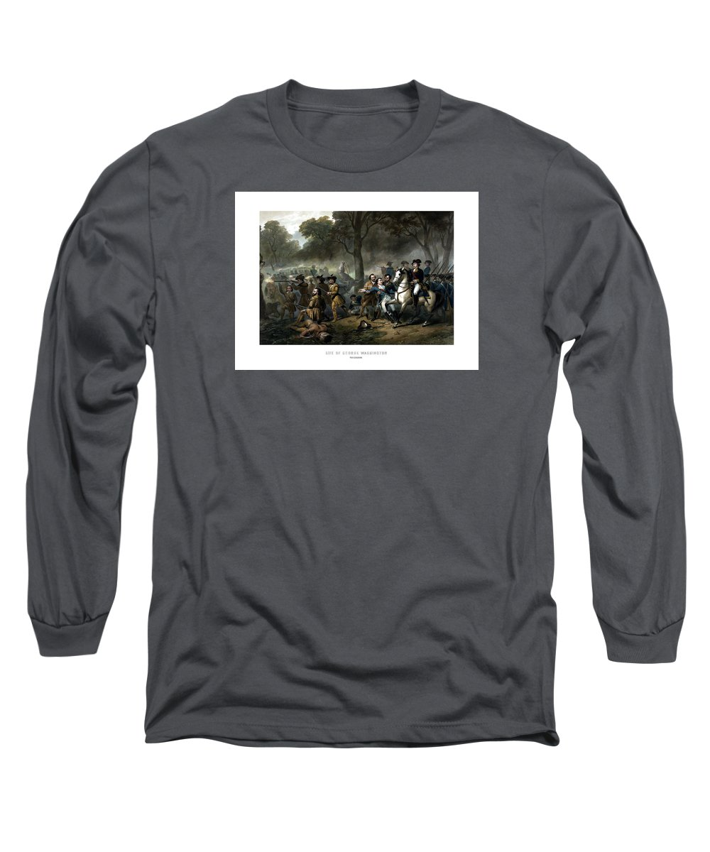 George Washington Long Sleeve T-Shirt featuring the painting Life Of George Washington - The Soldier by War Is Hell Store