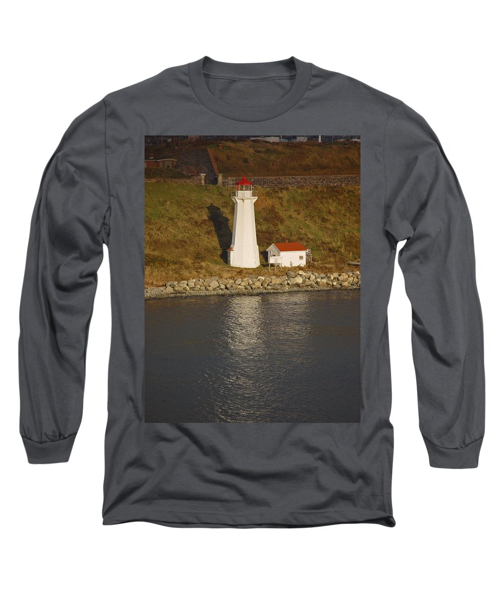 Lighthouse Long Sleeve T-Shirt featuring the photograph Lighthouse In Maine by Heather Coen