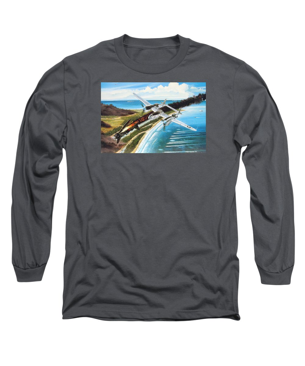 Aviation Long Sleeve T-Shirt featuring the painting Lightning Over Mindoro by Marc Stewart