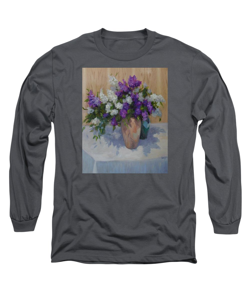Lilacs Long Sleeve T-Shirt featuring the painting Lilacs by Patricia Kness