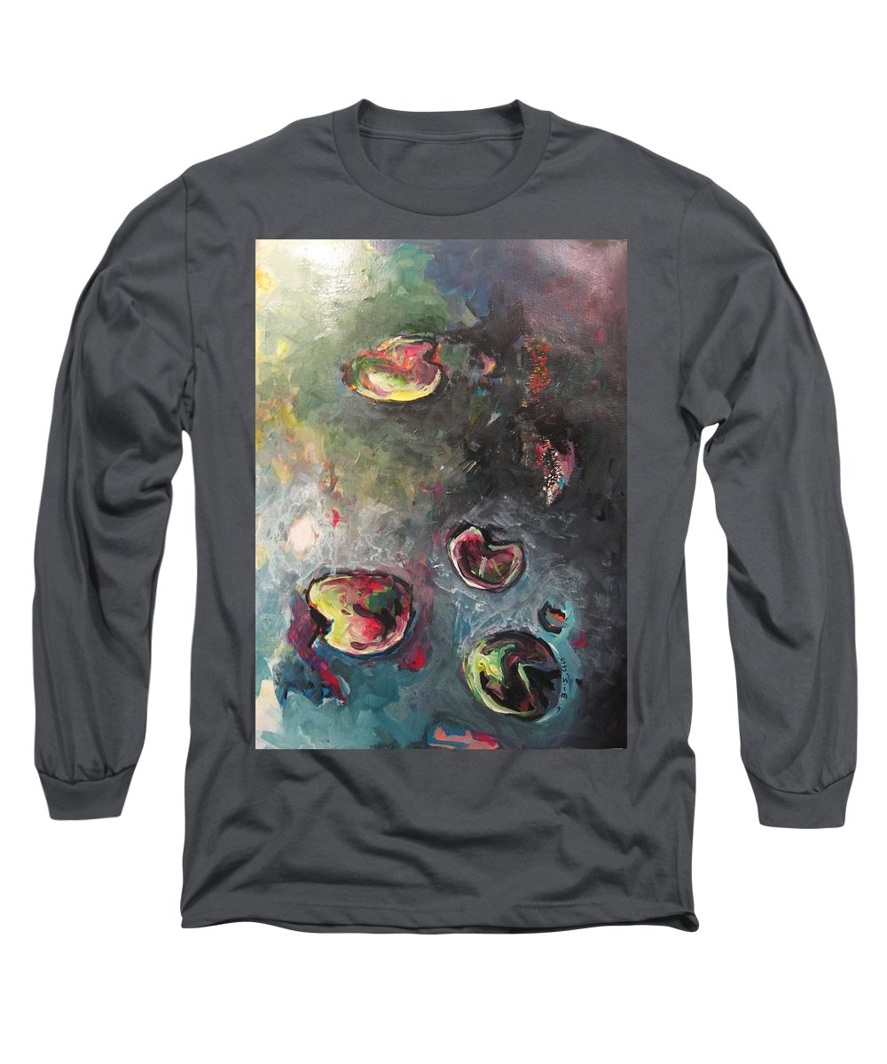 Abstract Painting Lily Pad Water Lake Blue Plant Paper Original Contemporary Canvas Long Sleeve T-Shirt featuring the painting Lily Pads5 by Seon-Jeong Kim