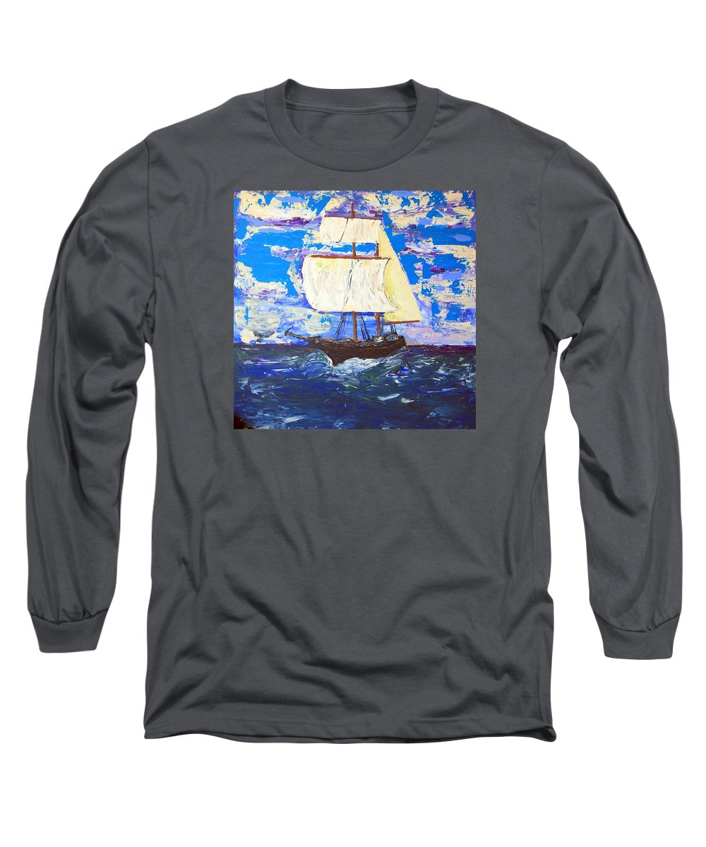 Clipper Long Sleeve T-Shirt featuring the painting Little Clipper by J R Seymour