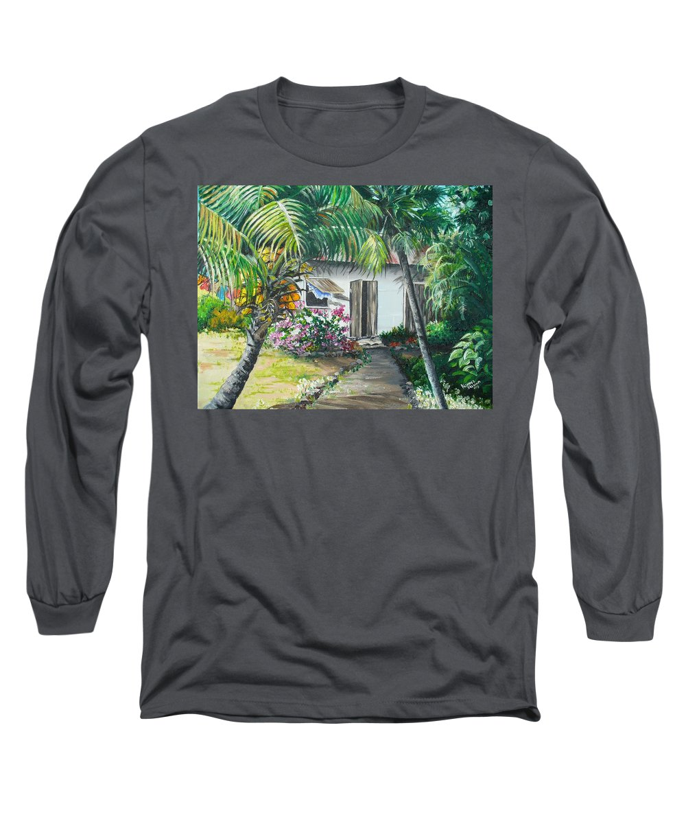 Caribbean Painting Typical Country House In Trinidad And The Islands With Coconut Tree Tropical Painting Long Sleeve T-Shirt featuring the painting Little West Indian House 2...sold by Karin Dawn Kelshall- Best