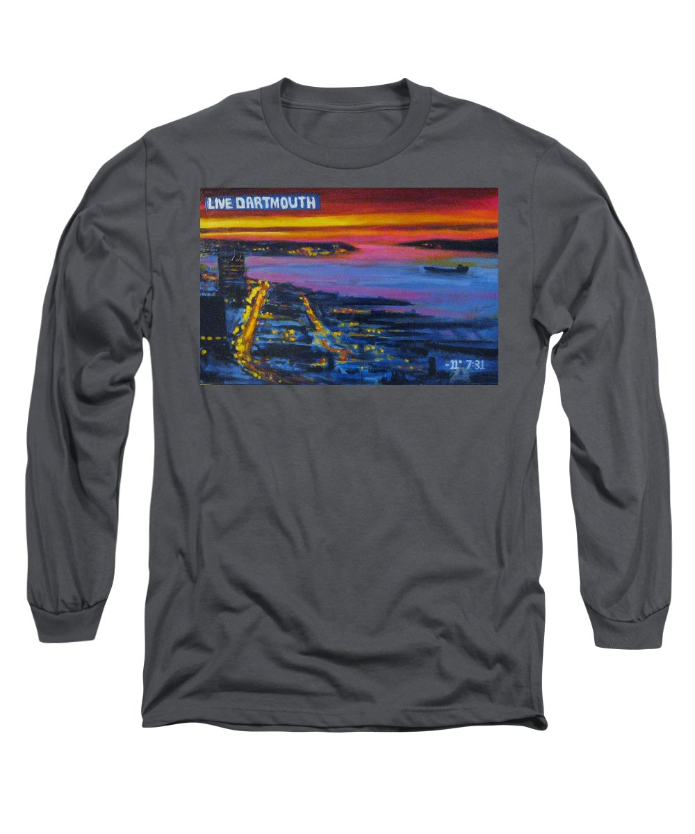 Night Scenes Long Sleeve T-Shirt featuring the painting Live Eye Over Dartmouth Ns by John Malone