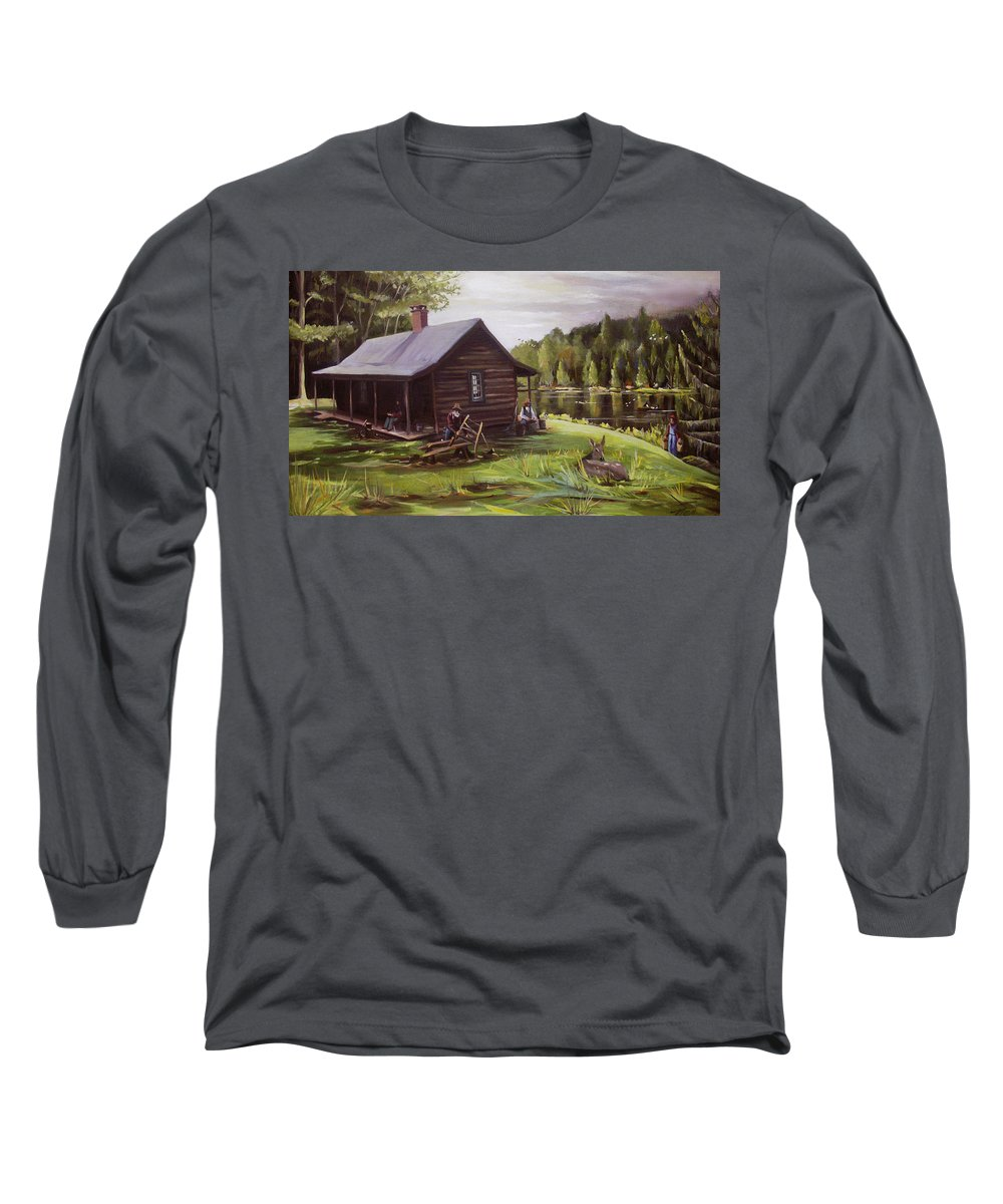 Log Cabin By The Lake Long Sleeve T-Shirt featuring the painting Log Cabin By The Lake by Nancy Griswold