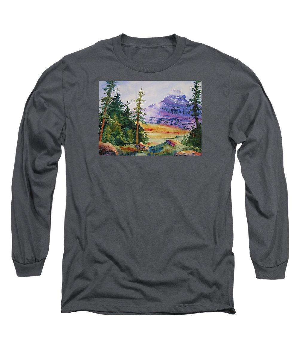 Landscape Long Sleeve T-Shirt featuring the painting Logan Pass by Karen Stark