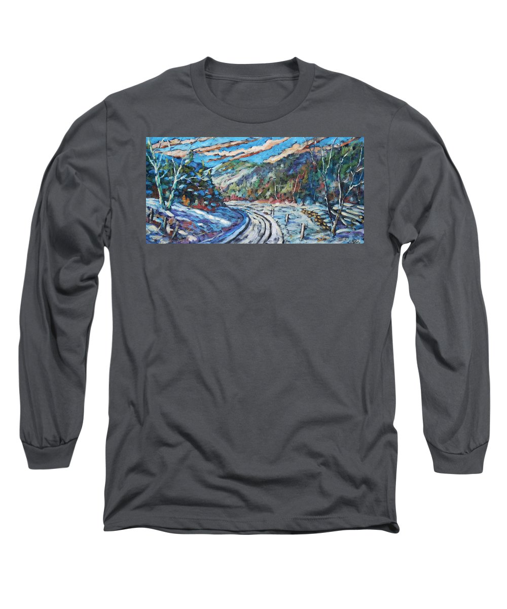 Loggers Long Sleeve T-Shirt featuring the painting Loggers Road by Richard T Pranke
