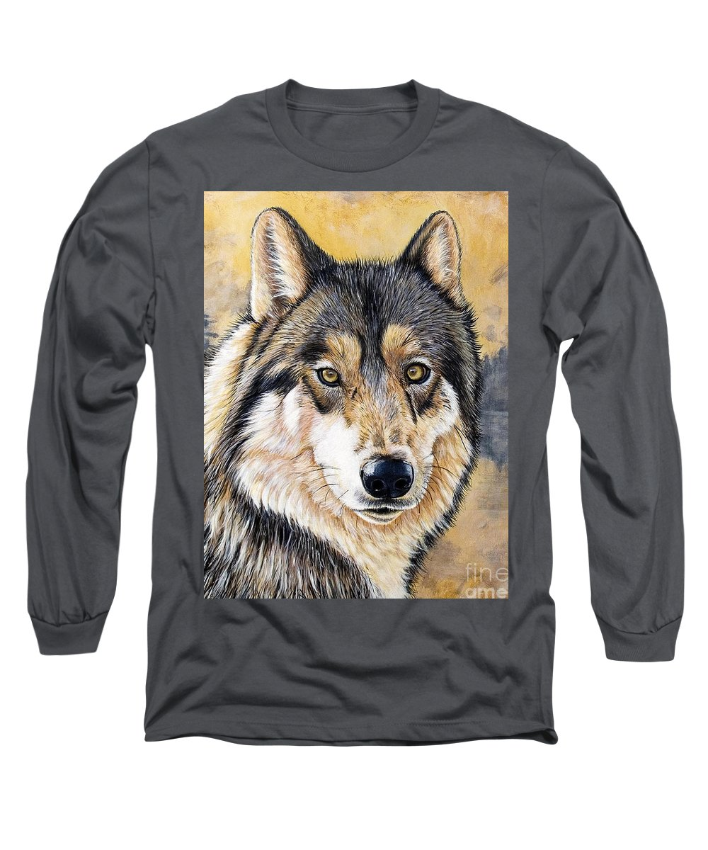 Acrylics Long Sleeve T-Shirt featuring the painting Loki by Sandi Baker