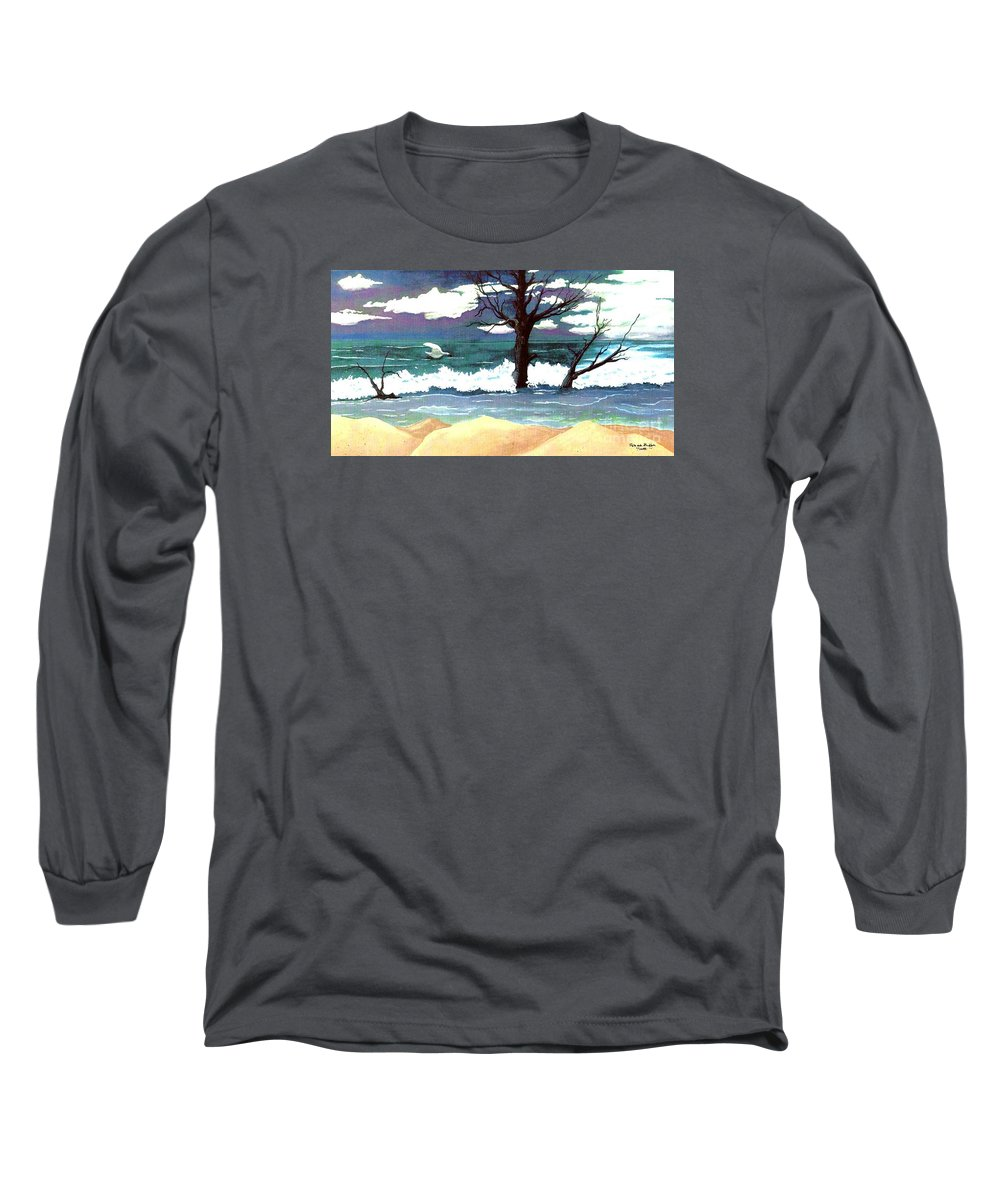 Original Watercolor Painting Long Sleeve T-Shirt featuring the painting Lost Swan by Patricia Griffin Brett