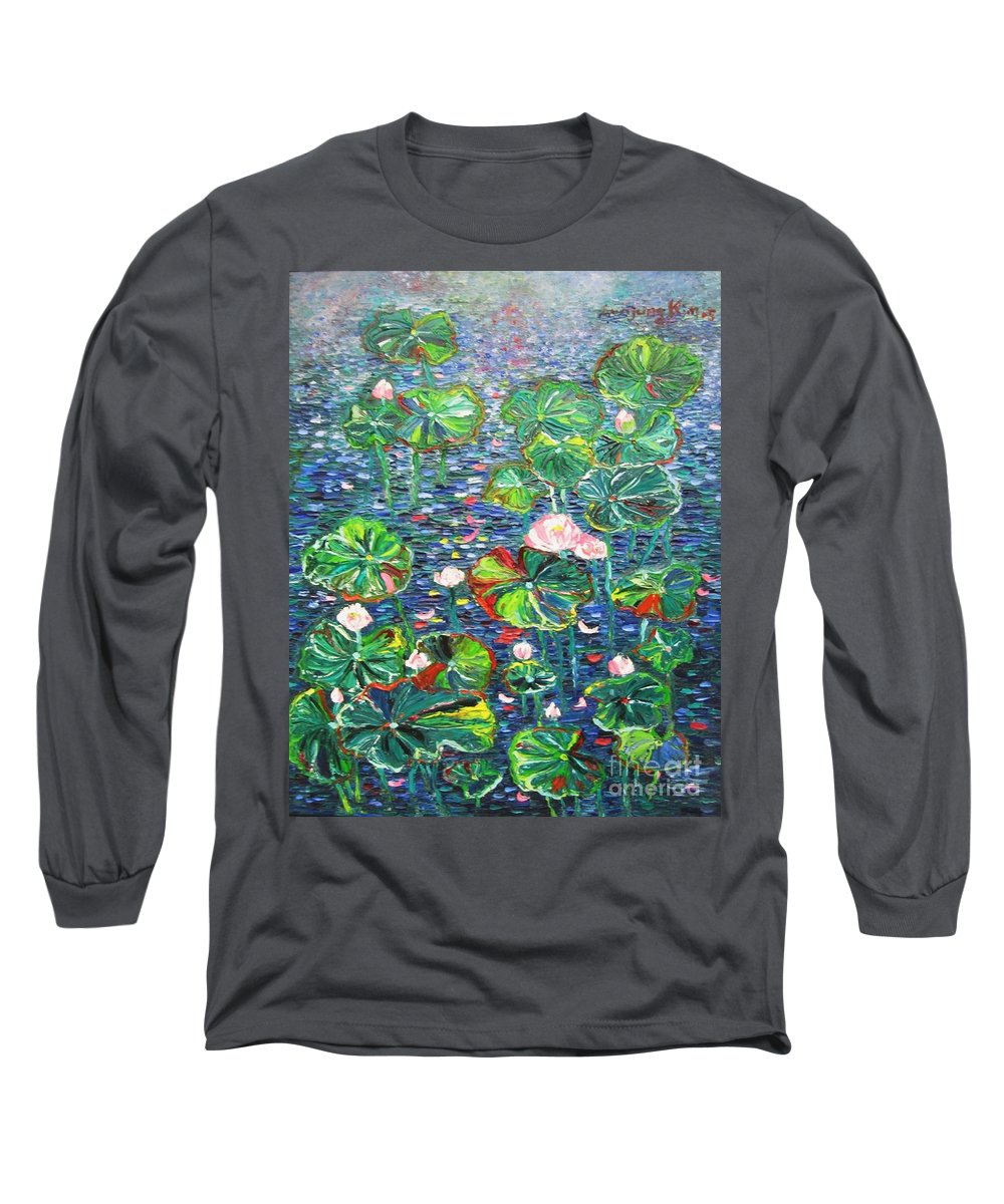 Water Lily Paintings Long Sleeve T-Shirt featuring the painting Lotus Flower Water Lily Lily Pads Painting by Seon-Jeong Kim