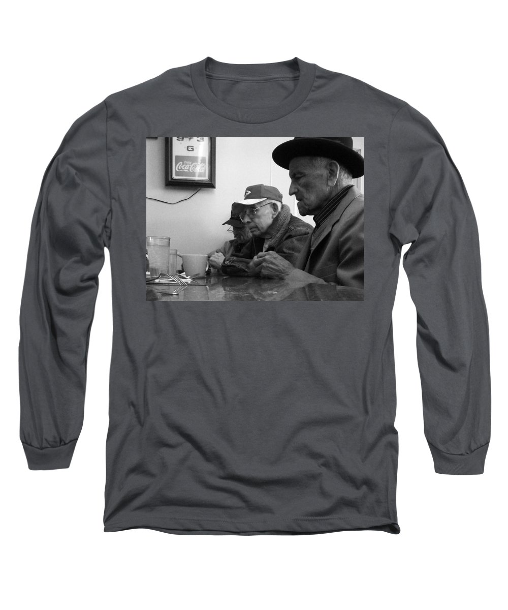 Diner Long Sleeve T-Shirt featuring the photograph Lunch Counter Boys - Black And White by Tim Nyberg
