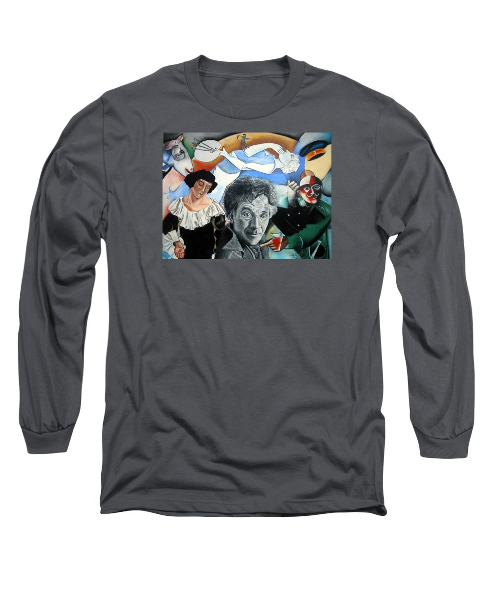 Chagall Portrait Long Sleeve T-Shirt featuring the drawing M Chagall by Leyla Munteanu