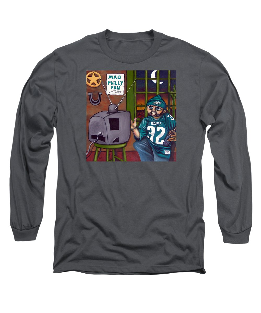 Philadelphia Long Sleeve T-Shirt featuring the painting Mad Philly Fan In Texas by Elizabeth Lisy Figueroa