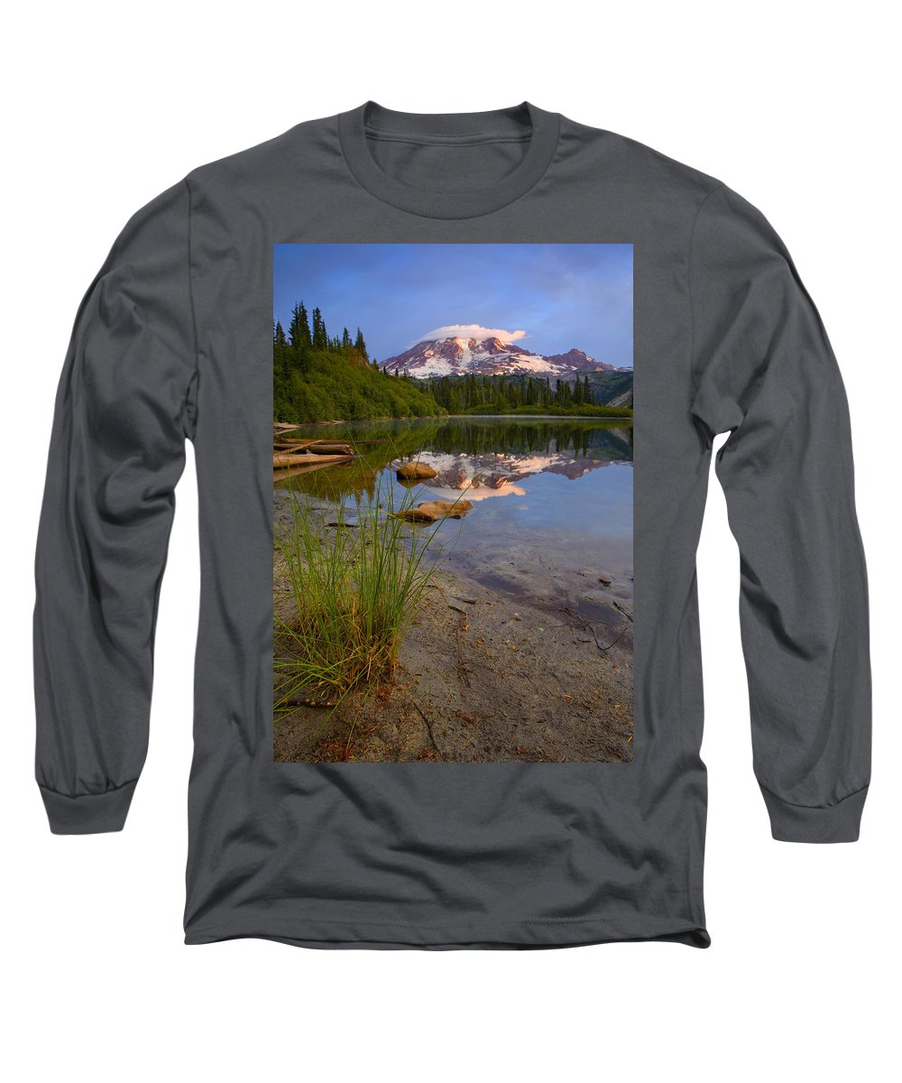 Mt. Rainier Long Sleeve T-Shirt featuring the photograph Majestic Glow by Mike Dawson