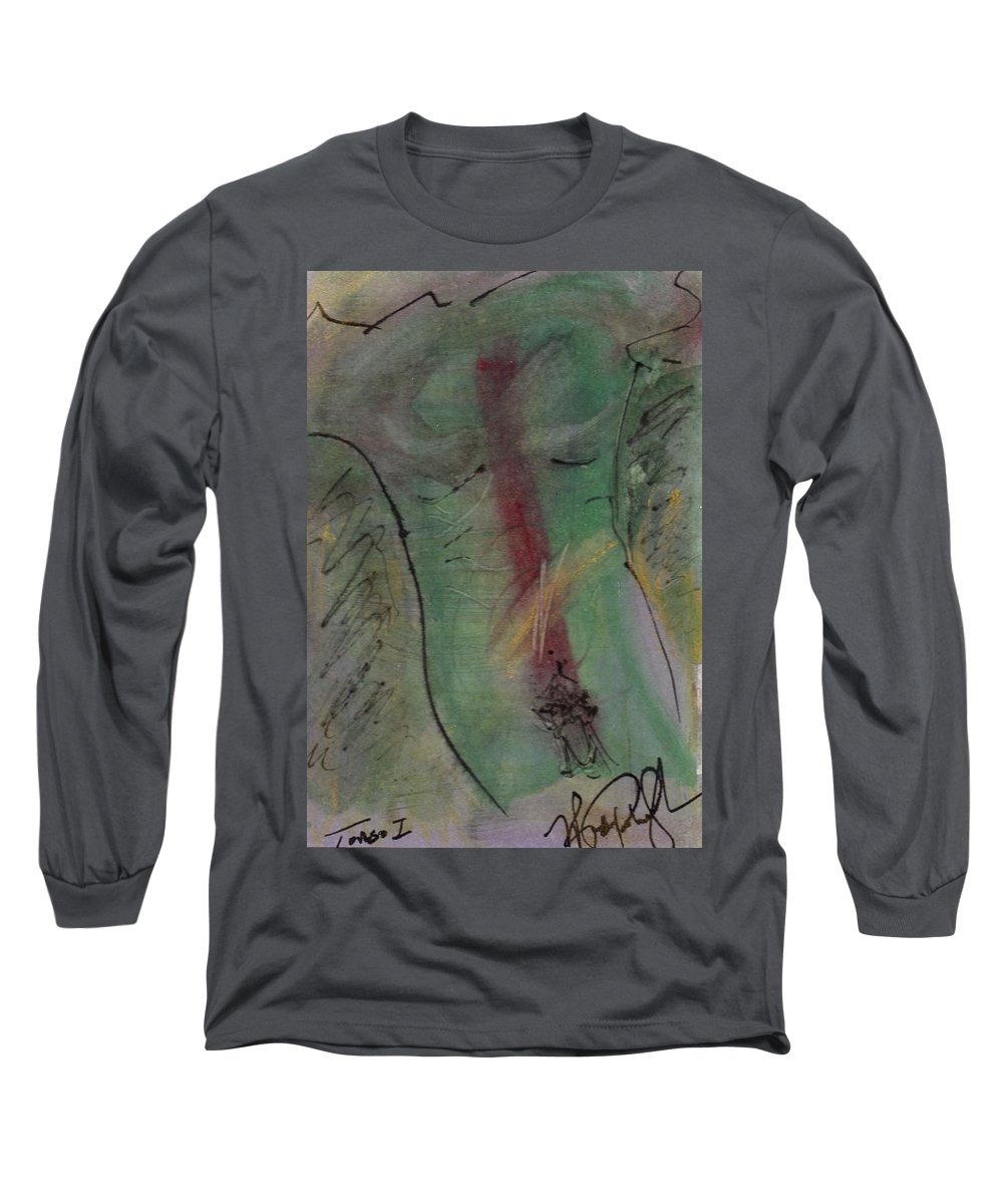 Nude Long Sleeve T-Shirt featuring the painting Male Nude Torso 1 by Wayne Potrafka