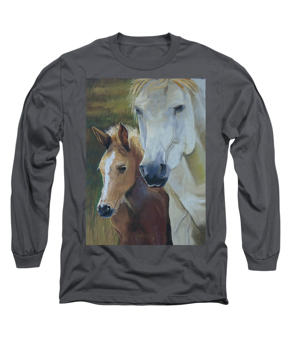 Horses Long Sleeve T-Shirt featuring the painting Mama's Boy by Heather Coen
