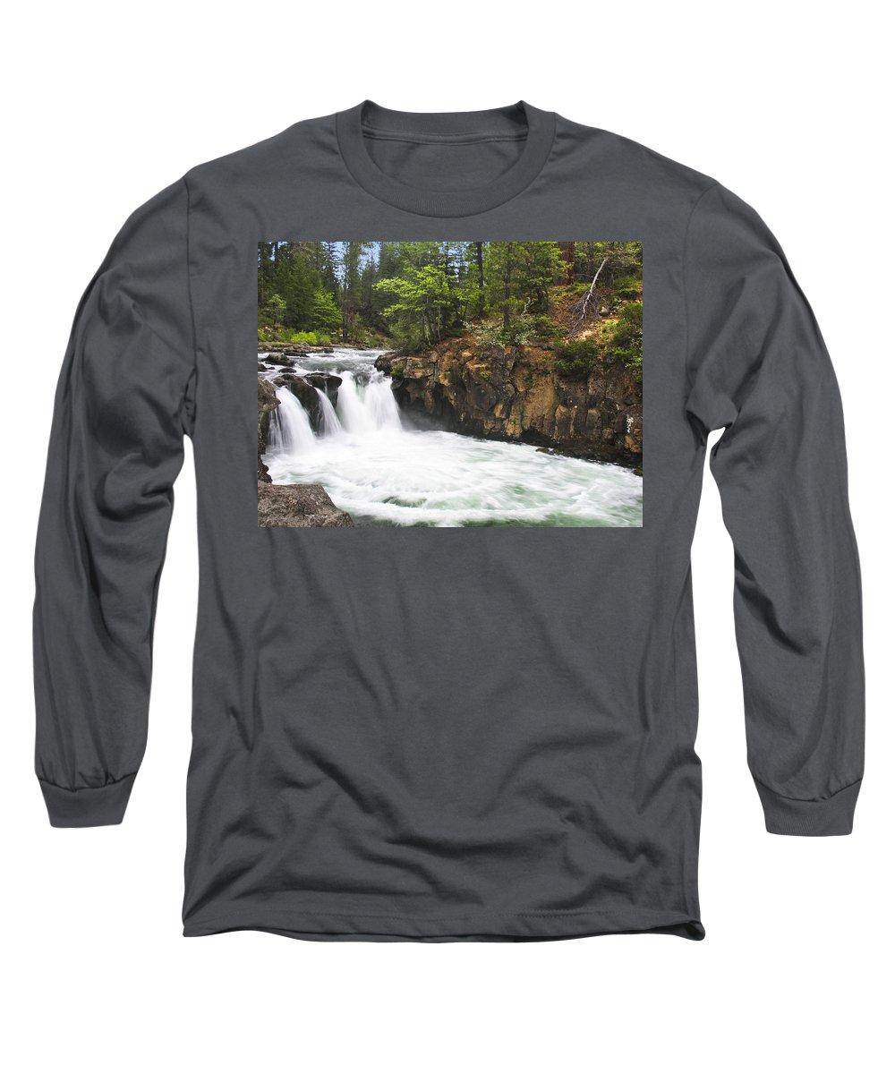 Landscape Long Sleeve T-Shirt featuring the photograph Mccloud Lowerfalls by Karen W Meyer