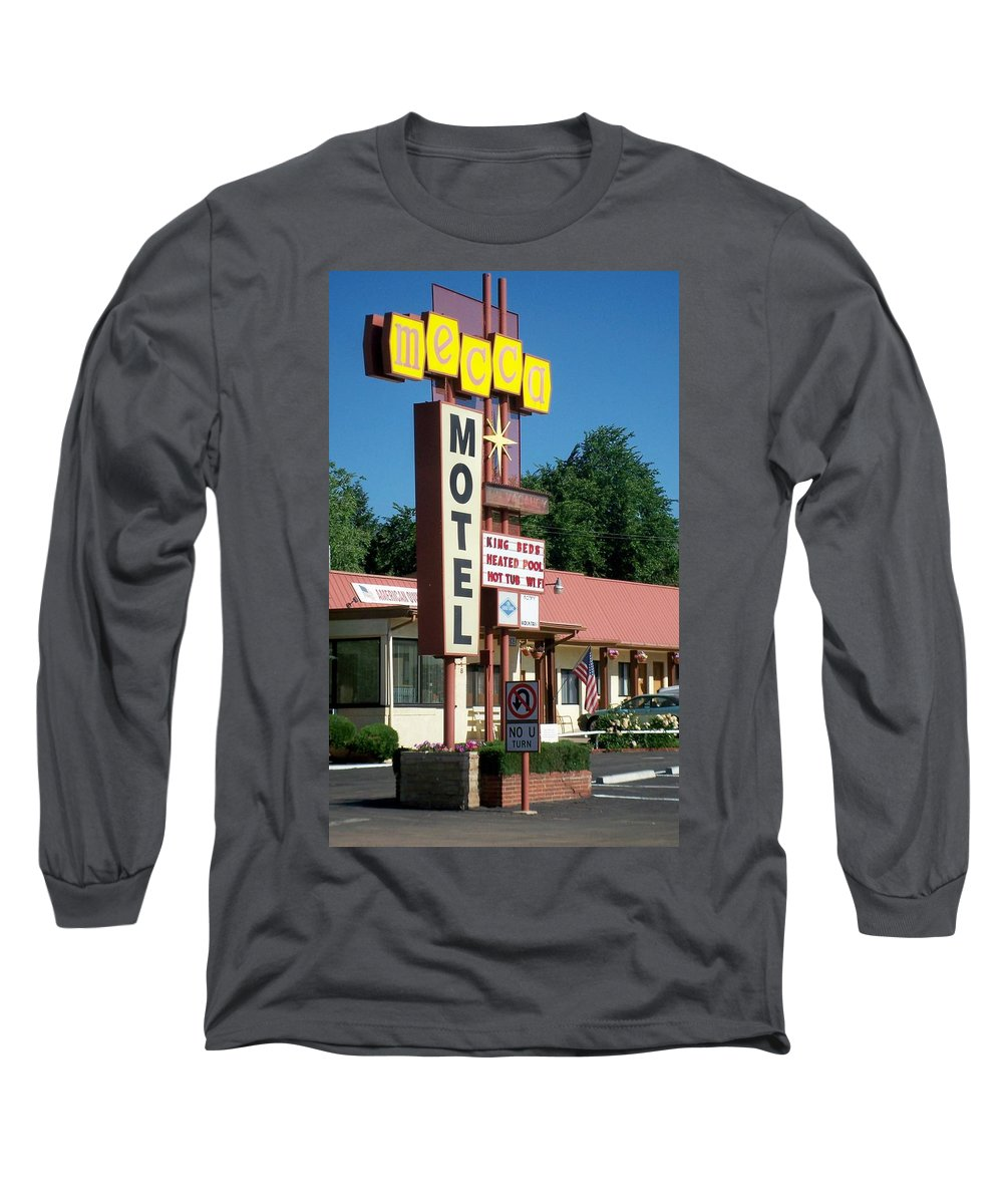 Vintage Motel Signs Long Sleeve T-Shirt featuring the photograph Mecca Motel by Anita Burgermeister