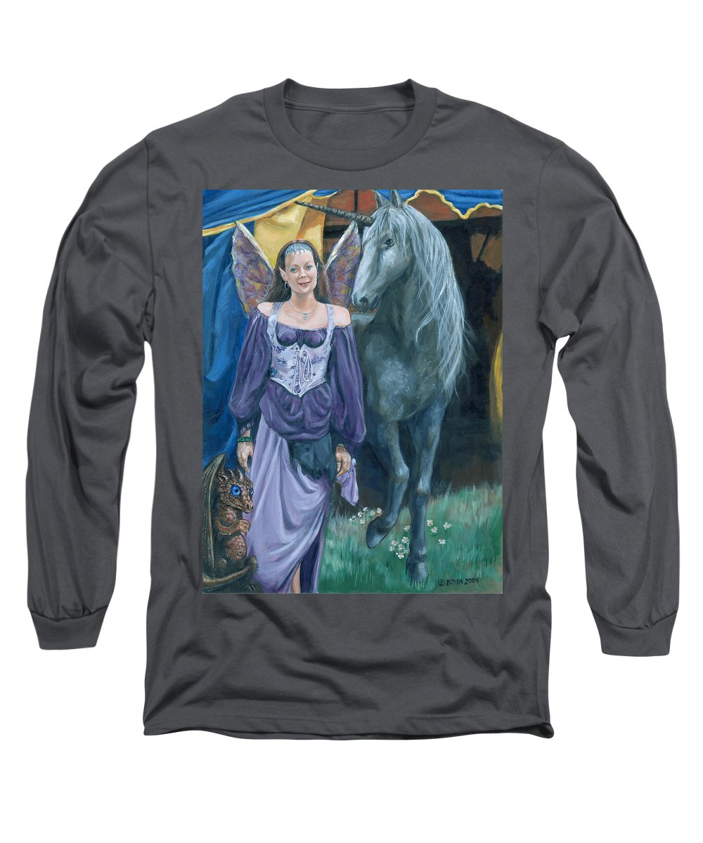 Fairy Faerie Unicorn Dragon Renaissance Festival Long Sleeve T-Shirt featuring the painting Medieval Fantasy by Bryan Bustard