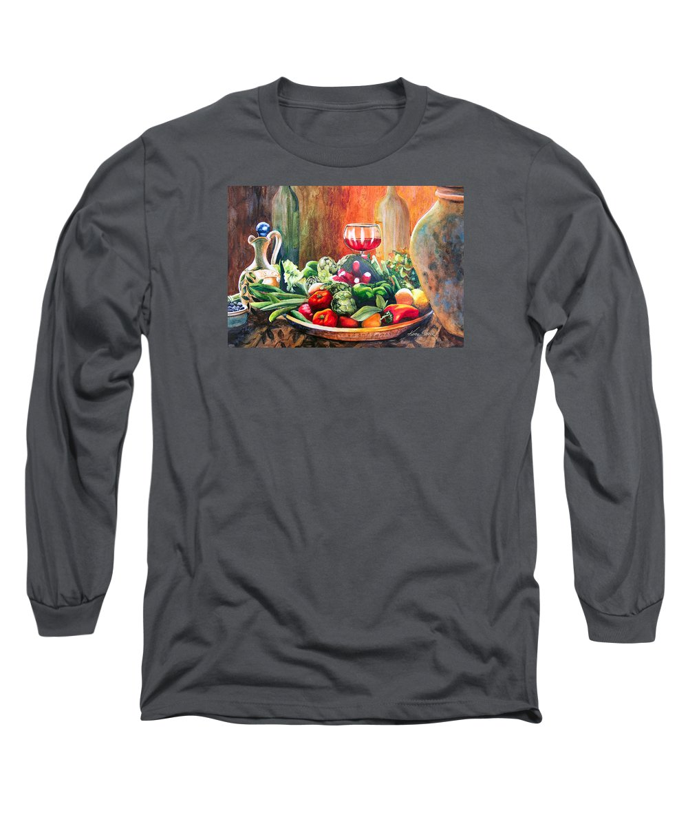 Still Life Long Sleeve T-Shirt featuring the painting Mediterranean Table by Karen Stark
