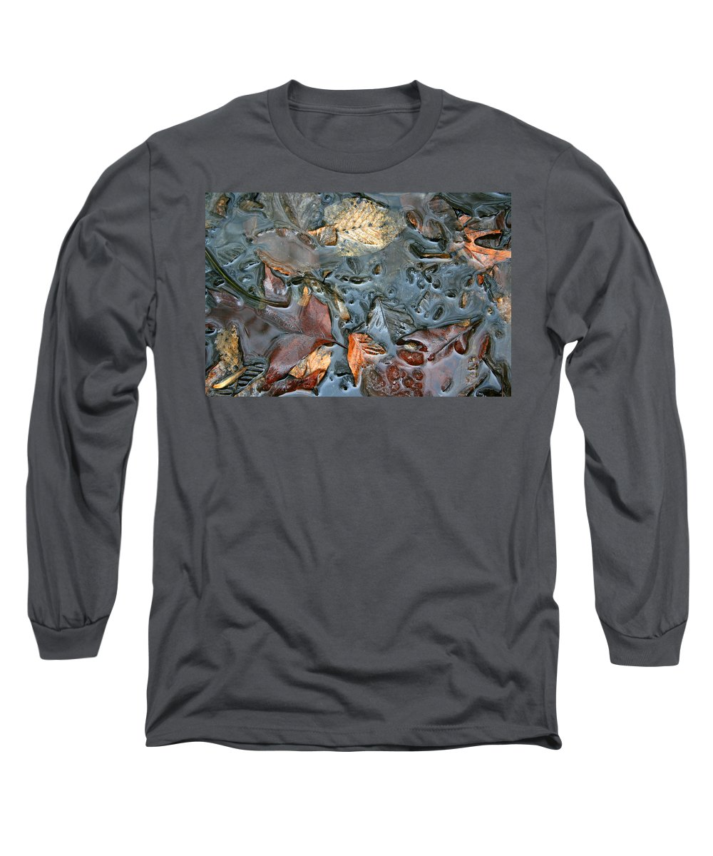 Nature Fall Leaf Leaves Colorful Water Melt Melted Reflect Reflection Outdoors Forest Woods Light Long Sleeve T-Shirt featuring the photograph Melted Colors by Andrei Shliakhau