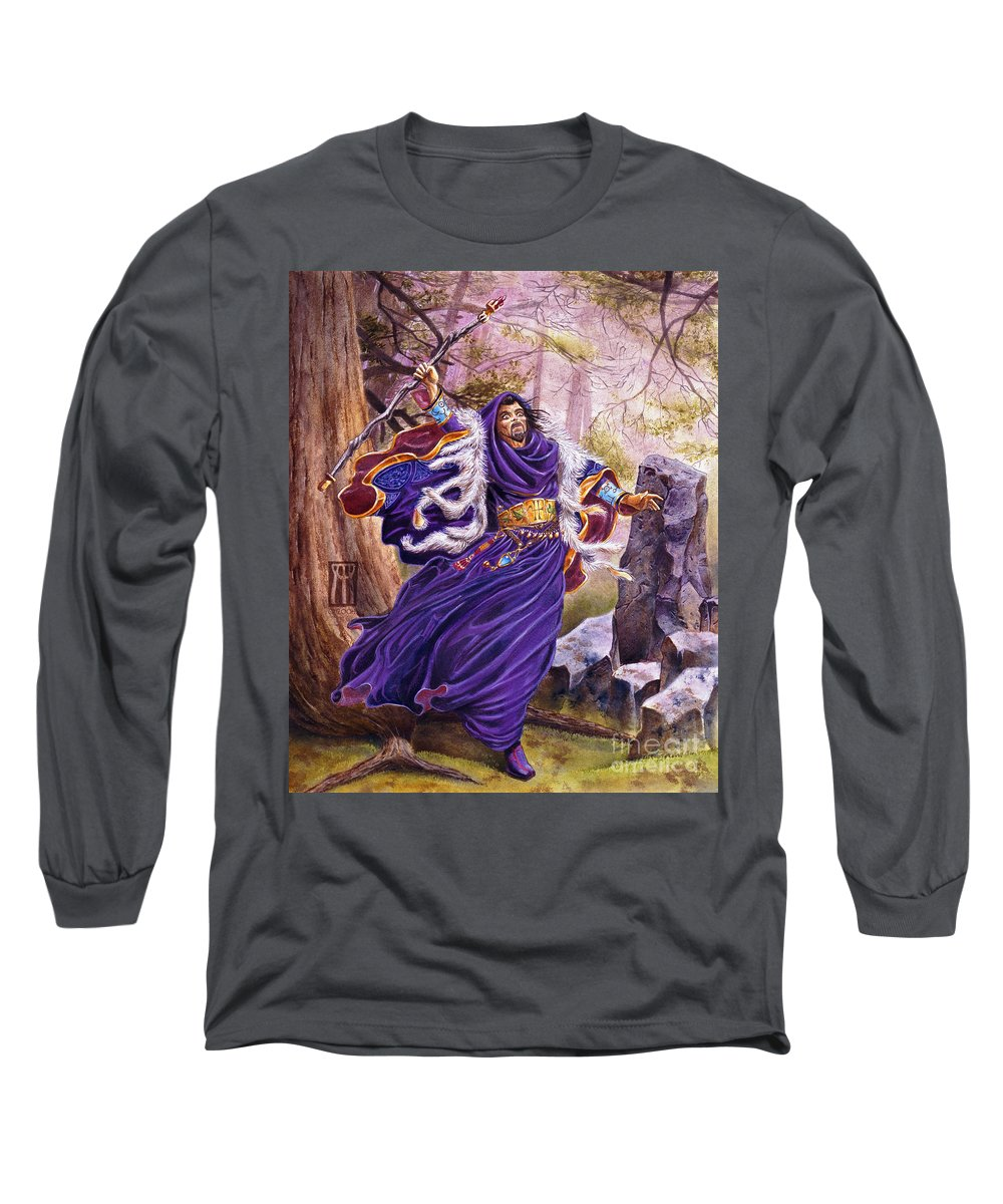 Artwork Long Sleeve T-Shirt featuring the painting Merlin by Melissa A Benson