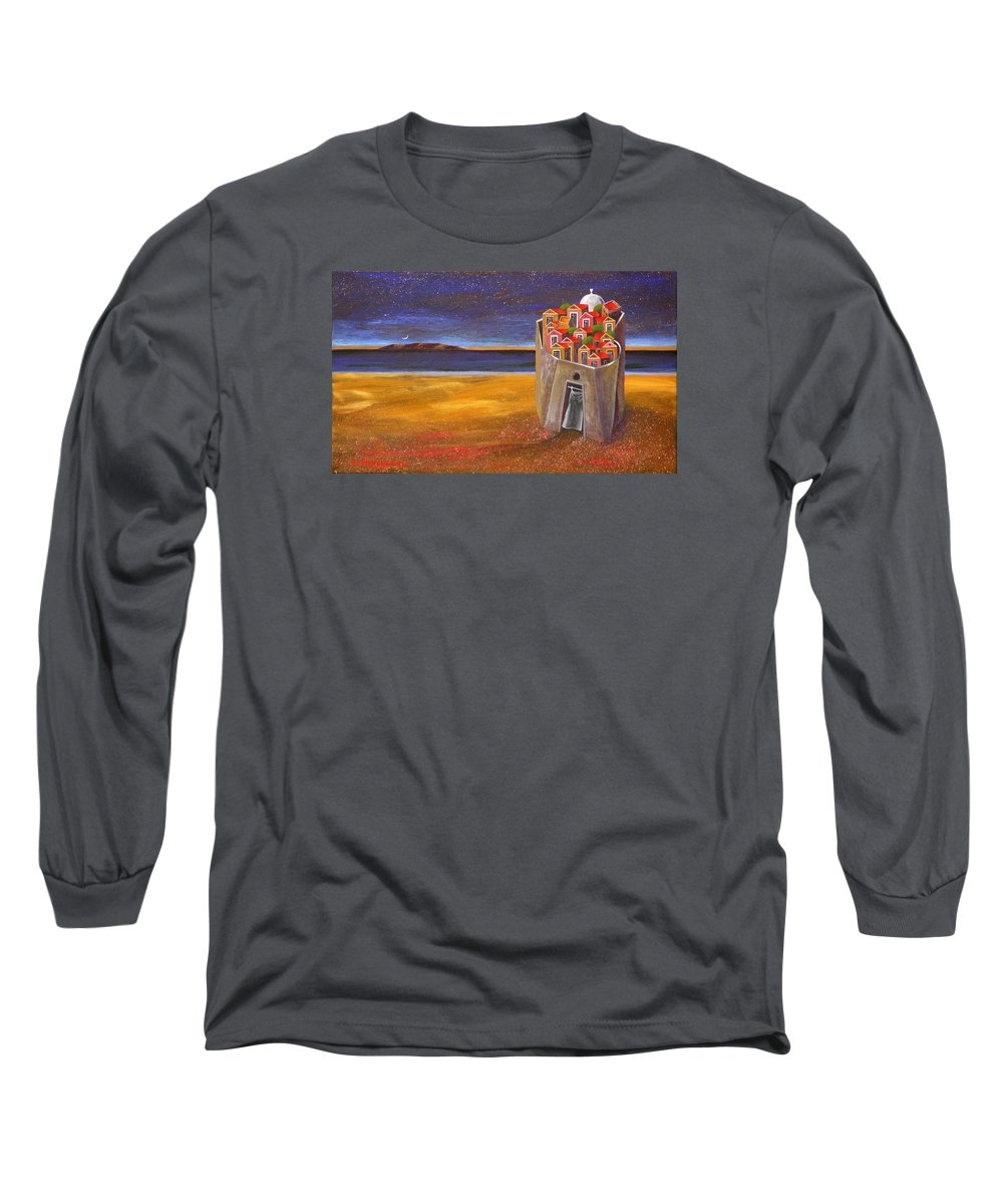 Superrealism Long Sleeve T-Shirt featuring the painting Mesi Castle Village by Dimitris Milionis