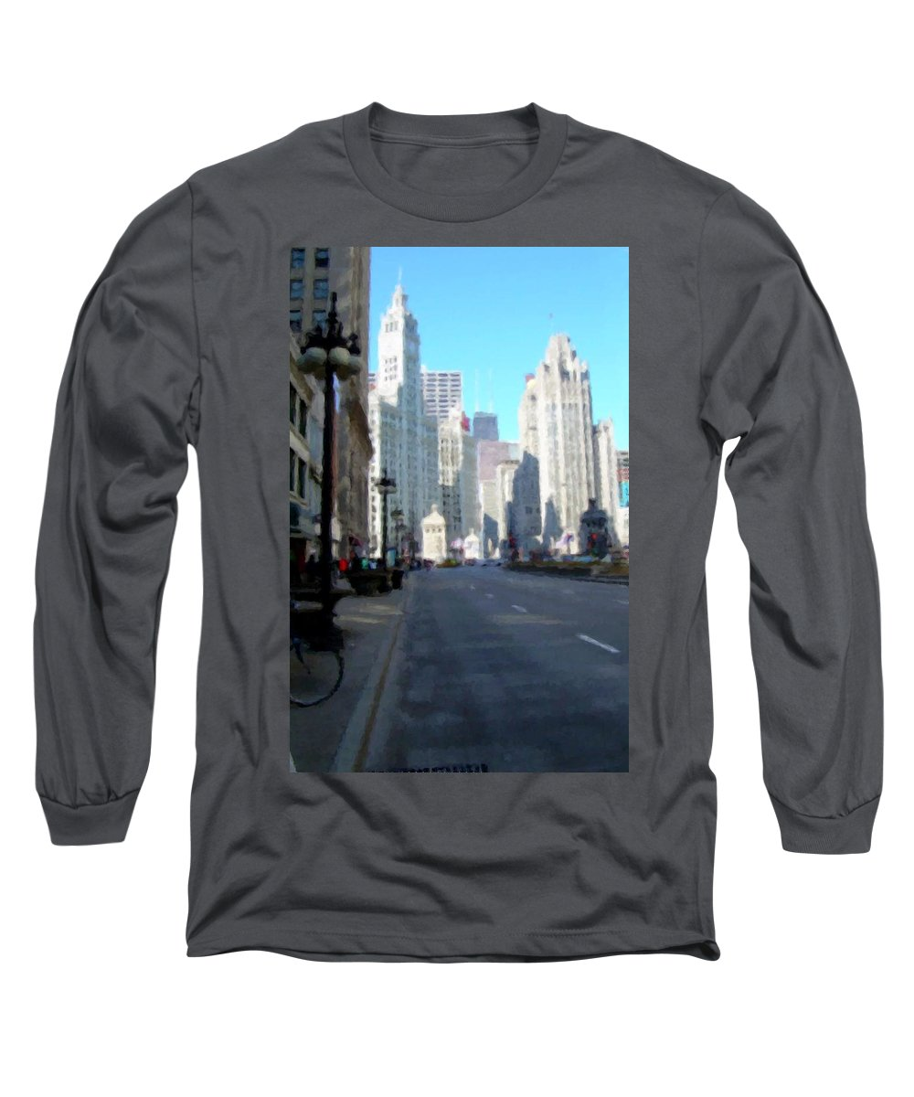 Chicago Long Sleeve T-Shirt featuring the digital art Michigan Ave Tall by Anita Burgermeister