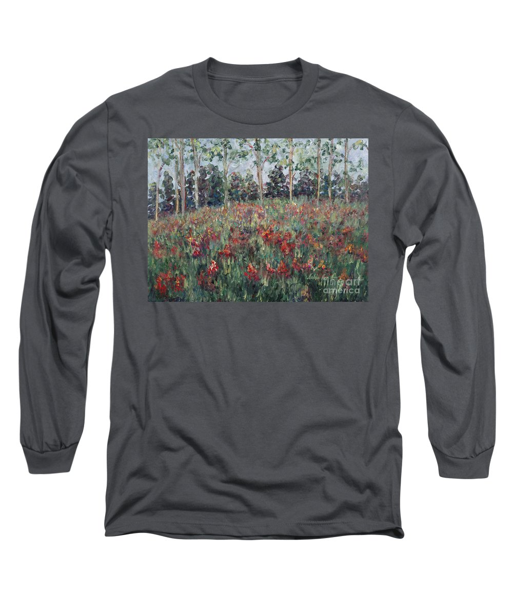Landscape Long Sleeve T-Shirt featuring the painting Minnesota Wildflowers by Nadine Rippelmeyer