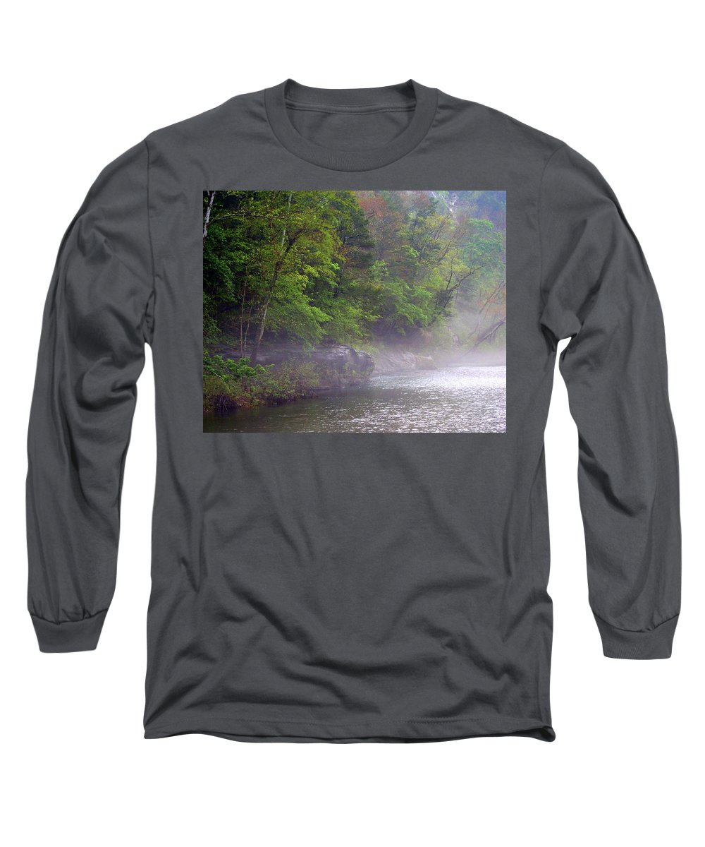 Buffalo National River Long Sleeve T-Shirt featuring the photograph Misty Morning On The Buffalo by Marty Koch